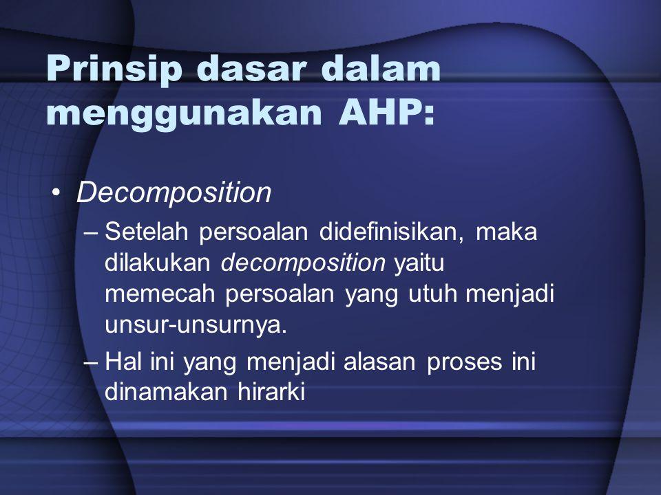 Prinsip dasar dalam menggunakan AHP: Decomposition –Setelah persoalan didefinisikan, maka dilakukan decomposition yaitu memecah persoalan yang utuh me