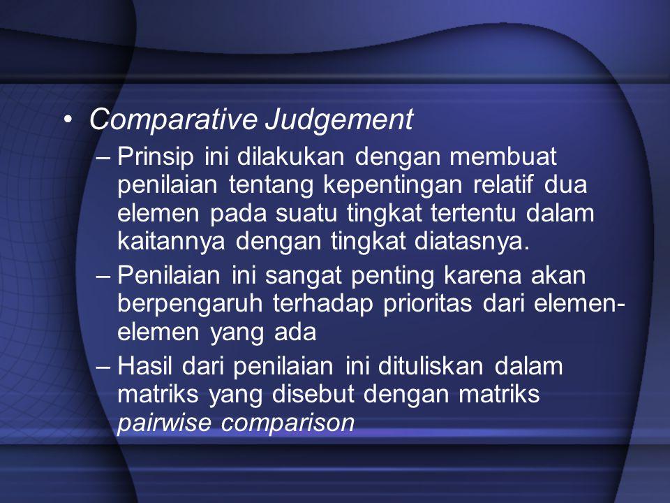 Comparative Judgement –Prinsip ini dilakukan dengan membuat penilaian tentang kepentingan relatif dua elemen pada suatu tingkat tertentu dalam kaitann