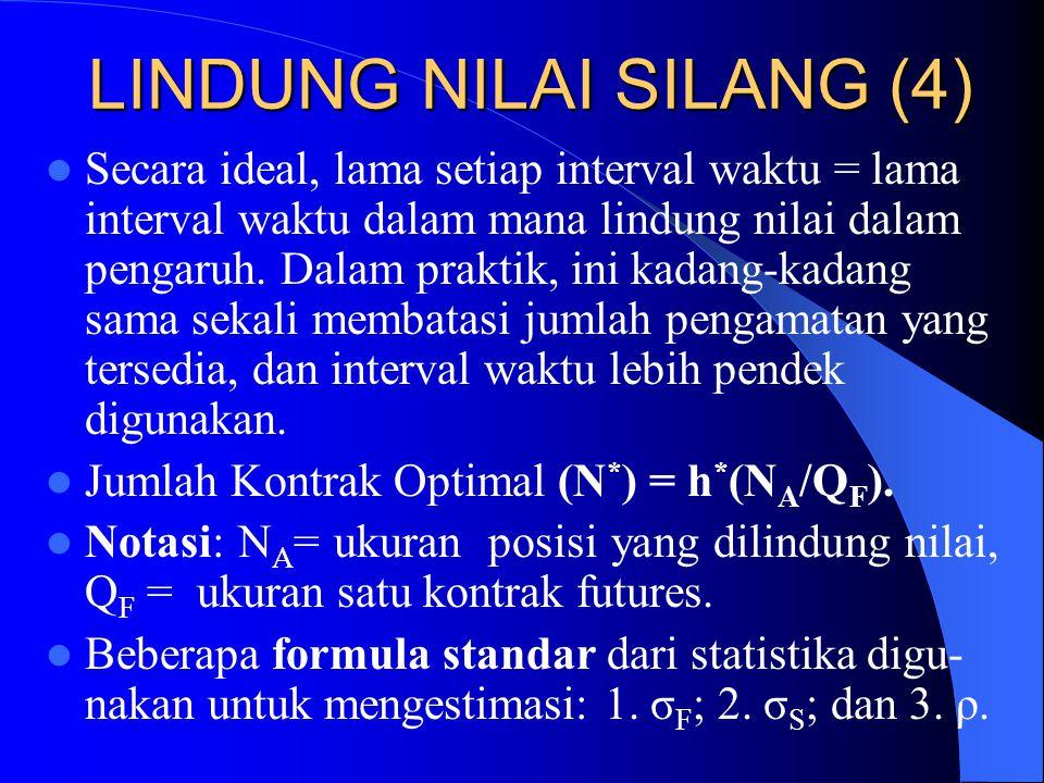 LINDUNG NILAI SILANG (3) Rasio lindung nilai optimal, h*, adalah slope dari garis lurus terbaik jika  S diregresikan terhadap  F. Efektivitas lindun