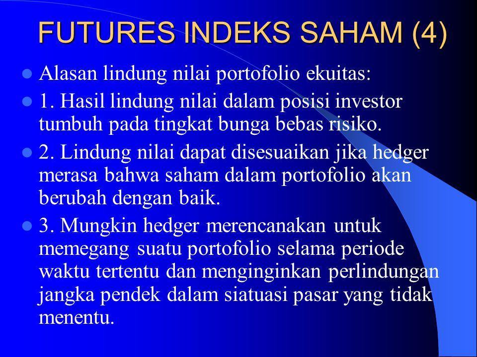 FUTURES INDEKS SAHAM (3) Jika β = 1,0/ (2,0)/ (0,5), maka pengembalian atas portofolio cenderung mencerminkan pengembalian pasar yang sama/ (dua kali lebih besar)/ (setengah kali besarnya).