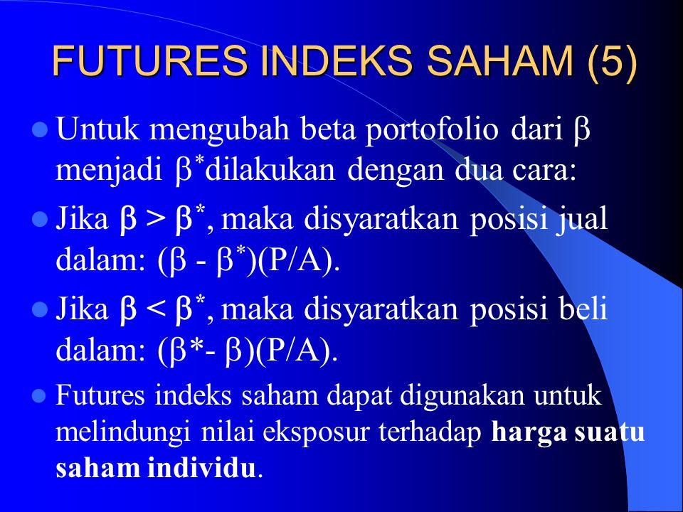 FUTURES INDEKS SAHAM (5) Dalam prosedur perhitungan kinerja lindung nilai indeks saham, beta portofolio hedger dikurangi sampai nol. Kadang-kadang kon