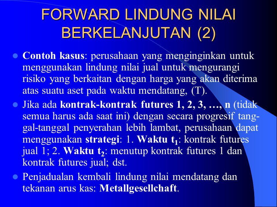 FORWARD LINDUNG NILAI BERKELANJUTAN (1) Kadang-kadang tanggal jatuh tempo lindung ni- lai lebih lambat daripada tanggal penyerahan atas semua kontrak futures yang dapat digunakan.