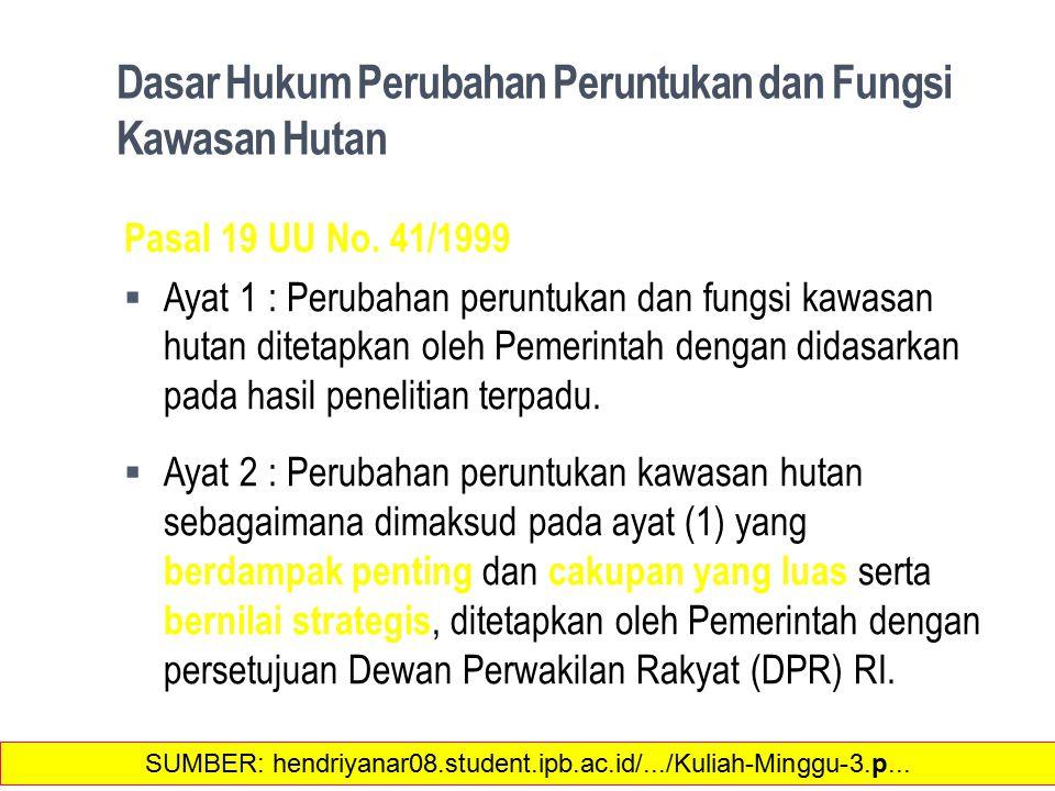 Dasar Hukum Perubahan Peruntukan dan Fungsi Kawasan Hutan Pasal 19 UU No.