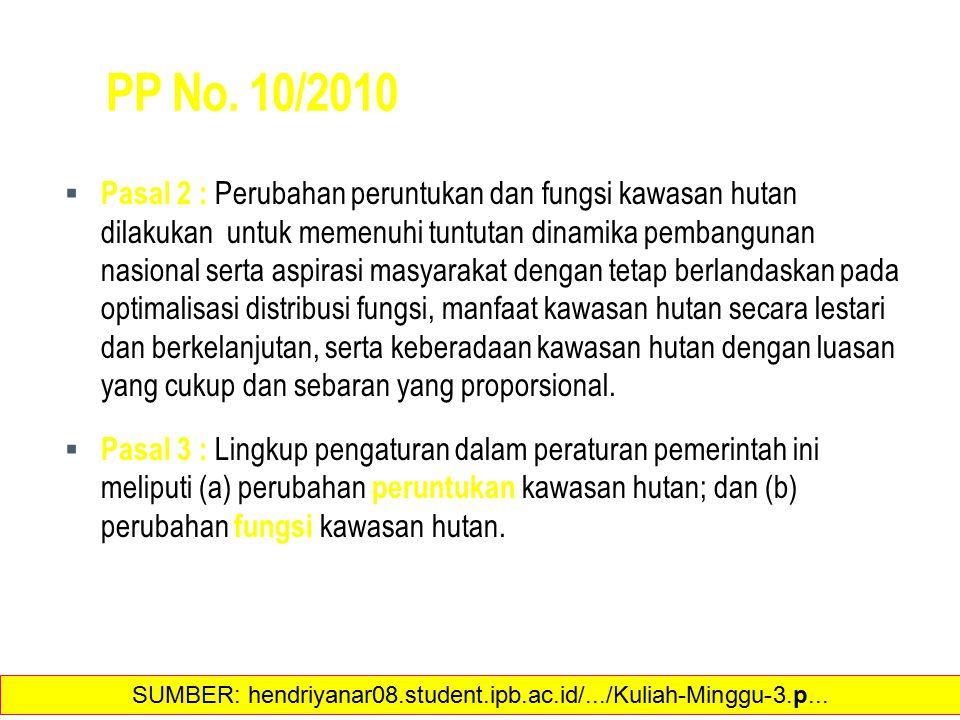 PP No. 10/2010  Pasal 2 : Perubahan peruntukan dan fungsi kawasan hutan dilakukan untuk memenuhi tuntutan dinamika pembangunan nasional serta aspiras