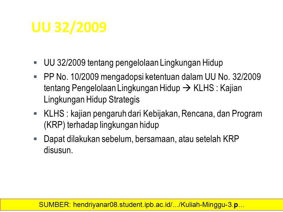 UU 32/2009  UU 32/2009 tentang pengelolaan Lingkungan Hidup  PP No. 10/2009 mengadopsi ketentuan dalam UU No. 32/2009 tentang Pengelolaan Lingkungan