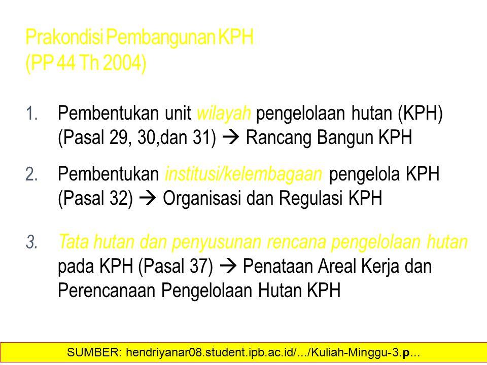 Prakondisi Pembangunan KPH (PP 44 Th 2004) 1. Pembentukan unit wilayah pengelolaan hutan (KPH) (Pasal 29, 30,dan 31)  Rancang Bangun KPH 2. Pembentuk
