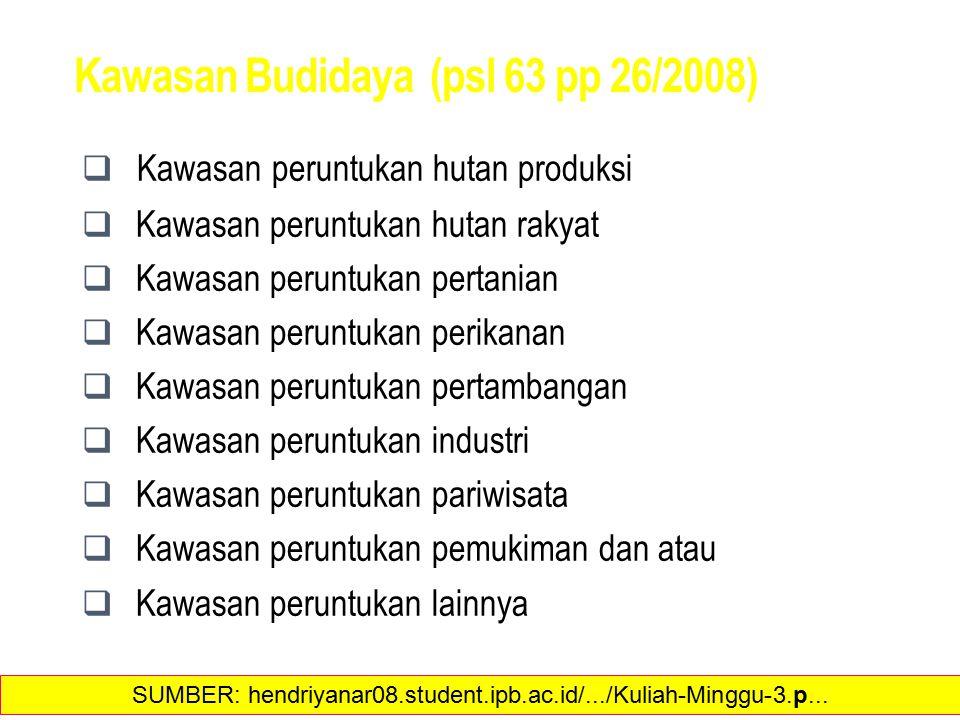Kawasan Budidaya (psl 63 pp 26/2008)  Kawasan peruntukan hutan produksi  Kawasan peruntukan hutan rakyat  Kawasan peruntukan pertanian  Kawasan pe