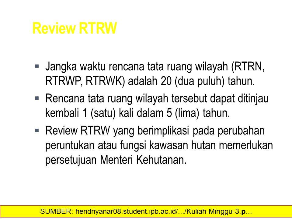 Review RTRW  Jangka waktu rencana tata ruang wilayah (RTRN, RTRWP, RTRWK) adalah 20 (dua puluh) tahun.  Rencana tata ruang wilayah tersebut dapat di