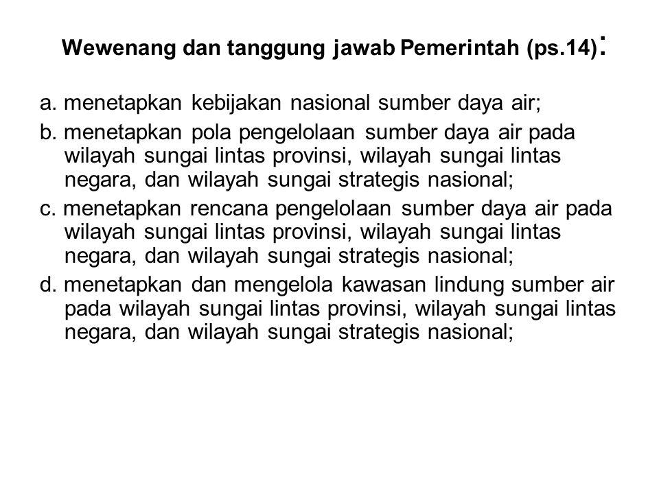 Wewenang dan tanggung jawab Pemerintah (ps.14) : a.