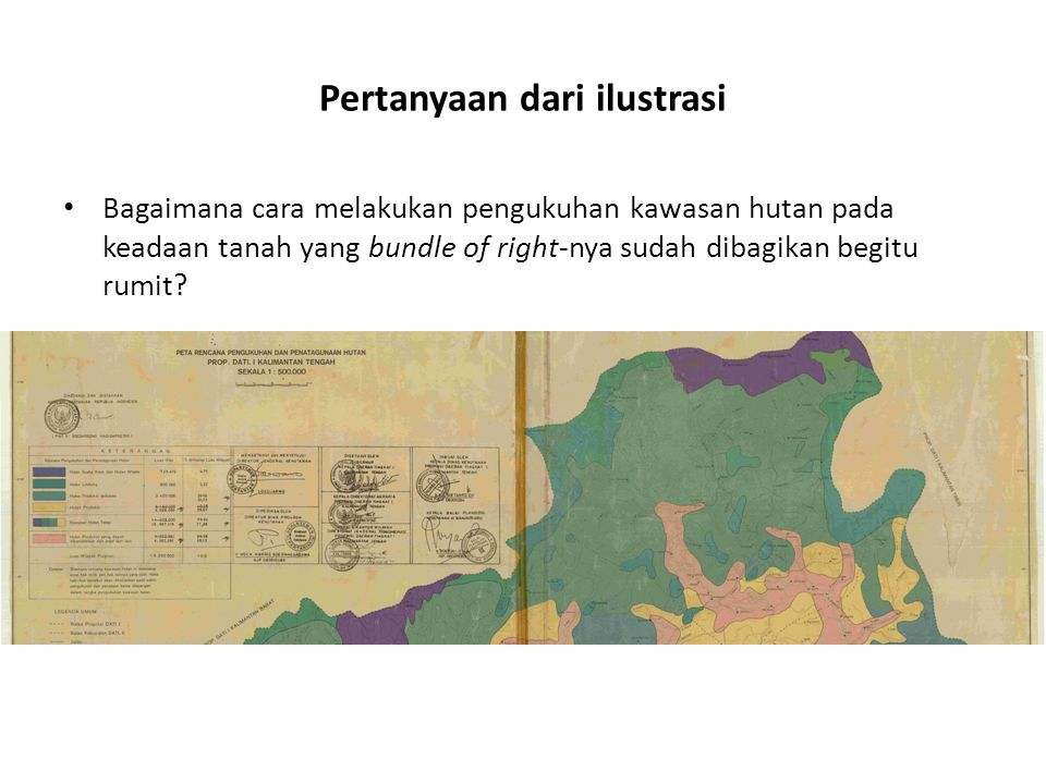 Pertanyaan dari ilustrasi Bagaimana cara melakukan pengukuhan kawasan hutan pada keadaan tanah yang bundle of right-nya sudah dibagikan begitu rumit?