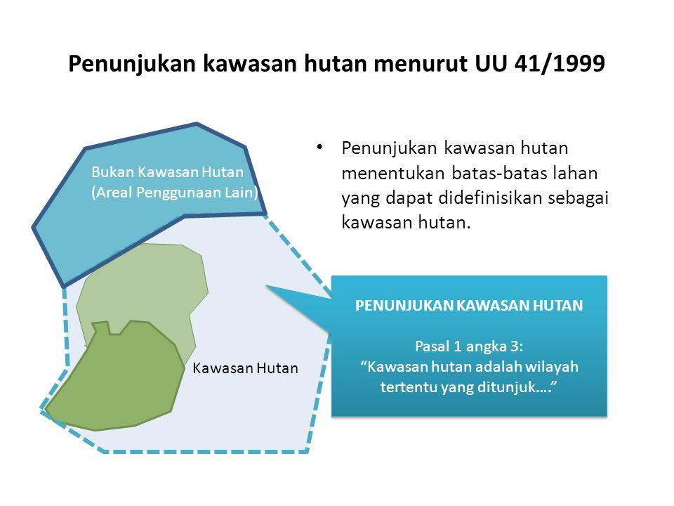 Penunjukan kawasan hutan menurut UU 41/1999 Penunjukan kawasan hutan menentukan batas-batas lahan yang dapat didefinisikan sebagai kawasan hutan. PENU