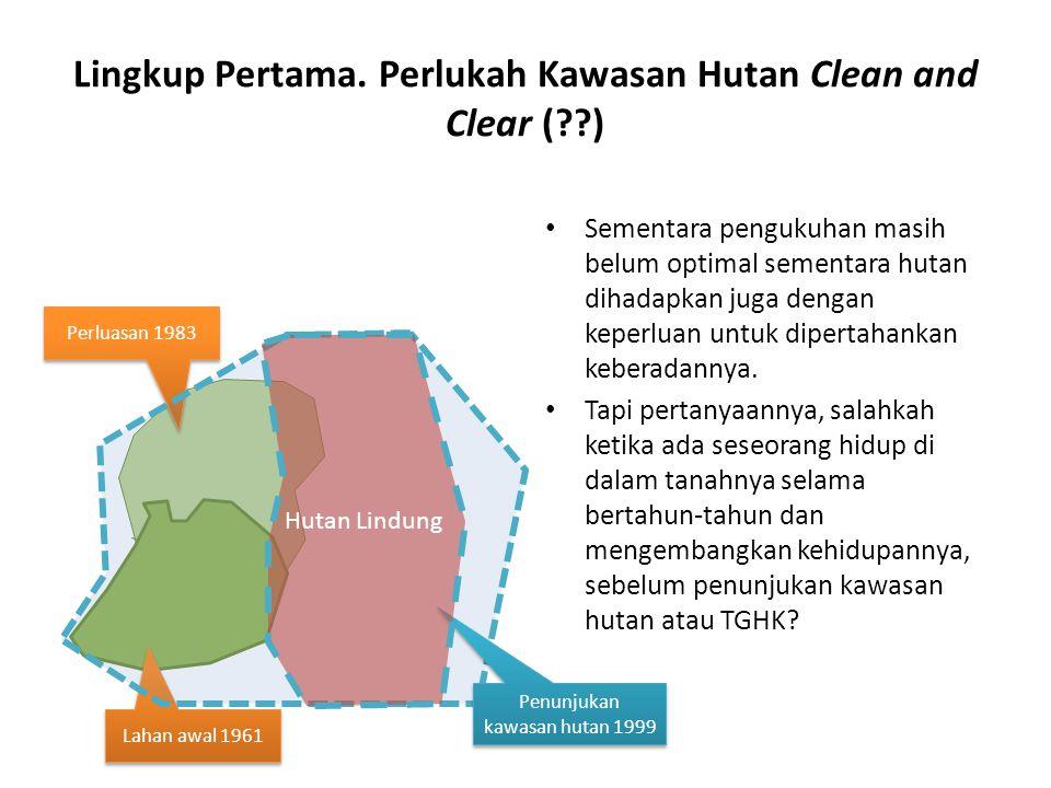 Lingkup Pertama. Perlukah Kawasan Hutan Clean and Clear (??) Sementara pengukuhan masih belum optimal sementara hutan dihadapkan juga dengan keperluan