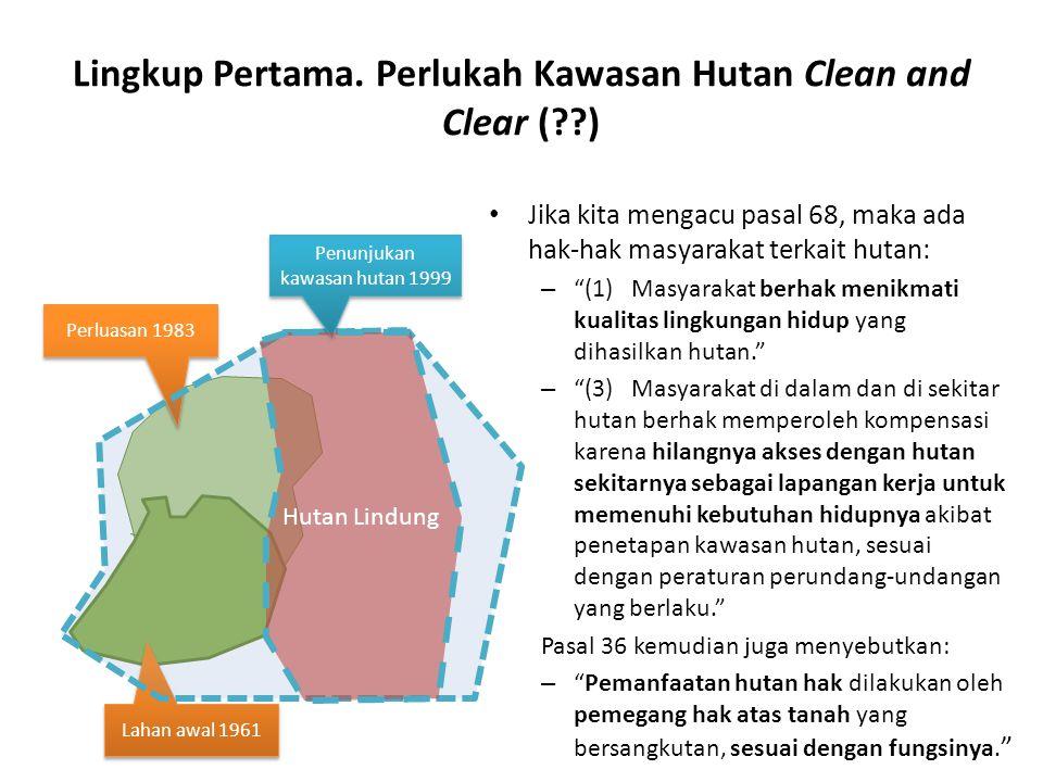 "Lingkup Pertama. Perlukah Kawasan Hutan Clean and Clear (??) Jika kita mengacu pasal 68, maka ada hak-hak masyarakat terkait hutan: – ""(1) Masyarakat"