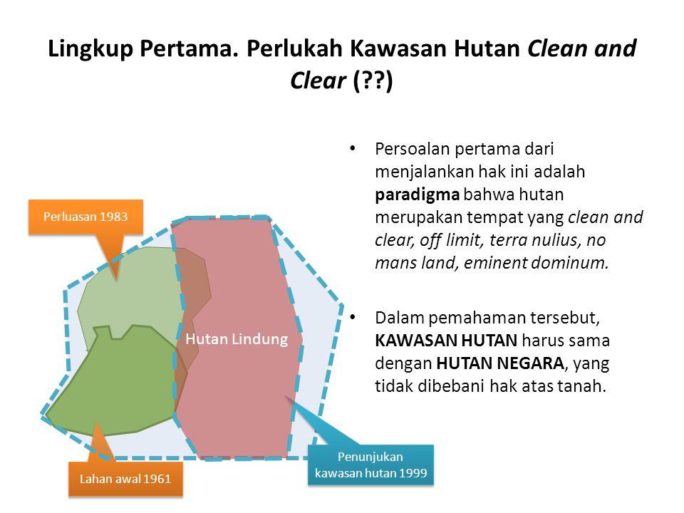 Lingkup Pertama. Perlukah Kawasan Hutan Clean and Clear (??) Persoalan pertama dari menjalankan hak ini adalah paradigma bahwa hutan merupakan tempat