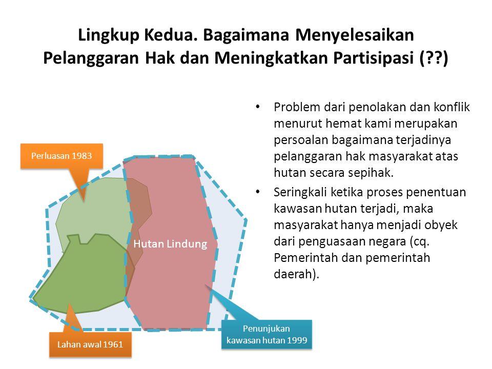 Lingkup Kedua. Bagaimana Menyelesaikan Pelanggaran Hak dan Meningkatkan Partisipasi (??) Problem dari penolakan dan konflik menurut hemat kami merupak