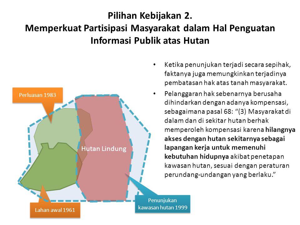 Pilihan Kebijakan 2. Memperkuat Partisipasi Masyarakat dalam Hal Penguatan Informasi Publik atas Hutan Ketika penunjukan terjadi secara sepihak, fakta