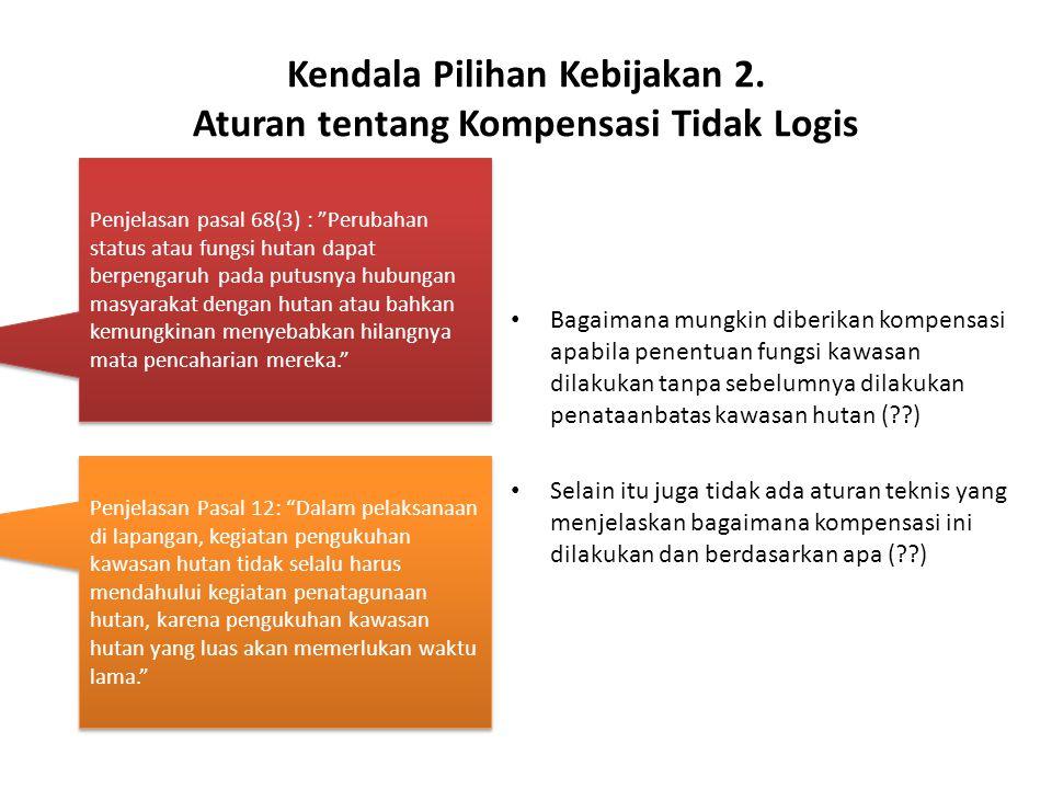 Kendala Pilihan Kebijakan 2. Aturan tentang Kompensasi Tidak Logis Bagaimana mungkin diberikan kompensasi apabila penentuan fungsi kawasan dilakukan t