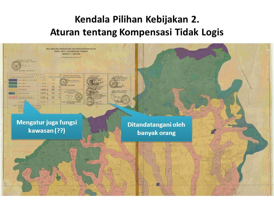 Kendala Pilihan Kebijakan 2. Aturan tentang Kompensasi Tidak Logis Ditandatangani oleh banyak orang Mengatur juga fungsi kawasan (??)