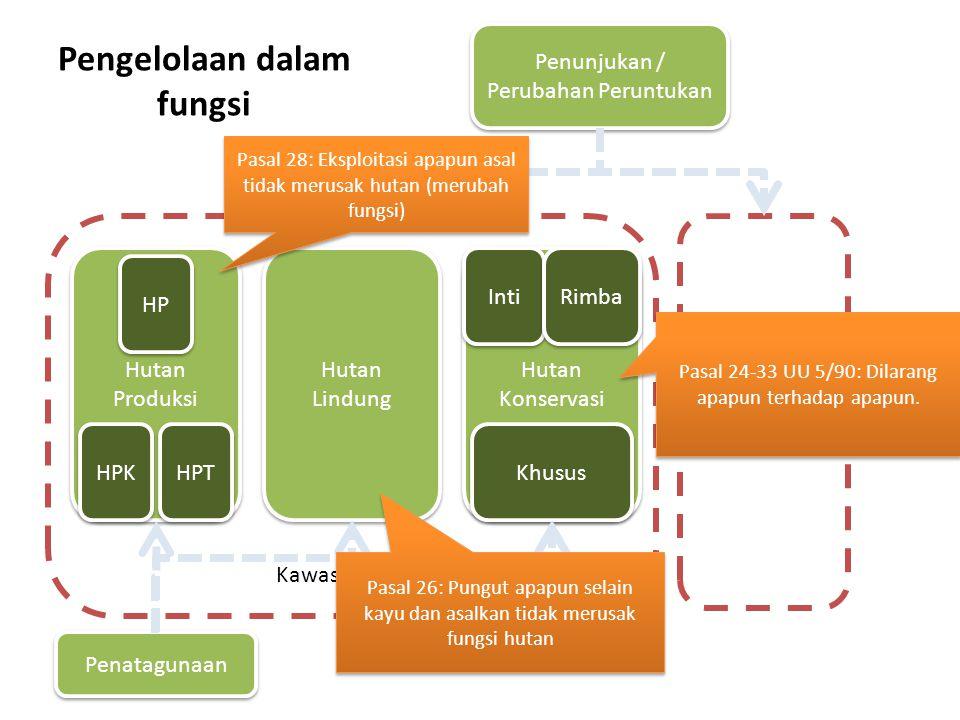 Pengelolaan dalam fungsi Kawasan Hutan Bukan Kawasan Hutan Hutan Produksi Hutan Lindung Hutan Konservasi HP HPT HPK Inti Rimba Khusus Penatagunaan Pen