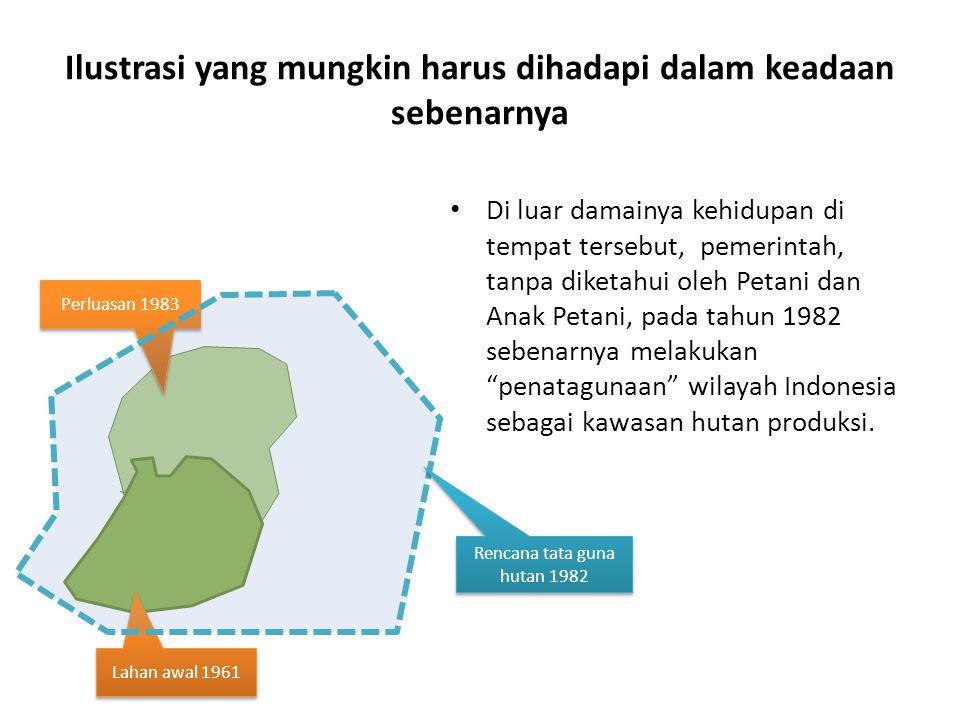 Ilustrasi yang mungkin harus dihadapi dalam keadaan sebenarnya Di luar damainya kehidupan di tempat tersebut, pemerintah, tanpa diketahui oleh Petani dan Anak Petani, pada tahun 1982 sebenarnya melakukan penatagunaan wilayah Indonesia sebagai kawasan hutan produksi.