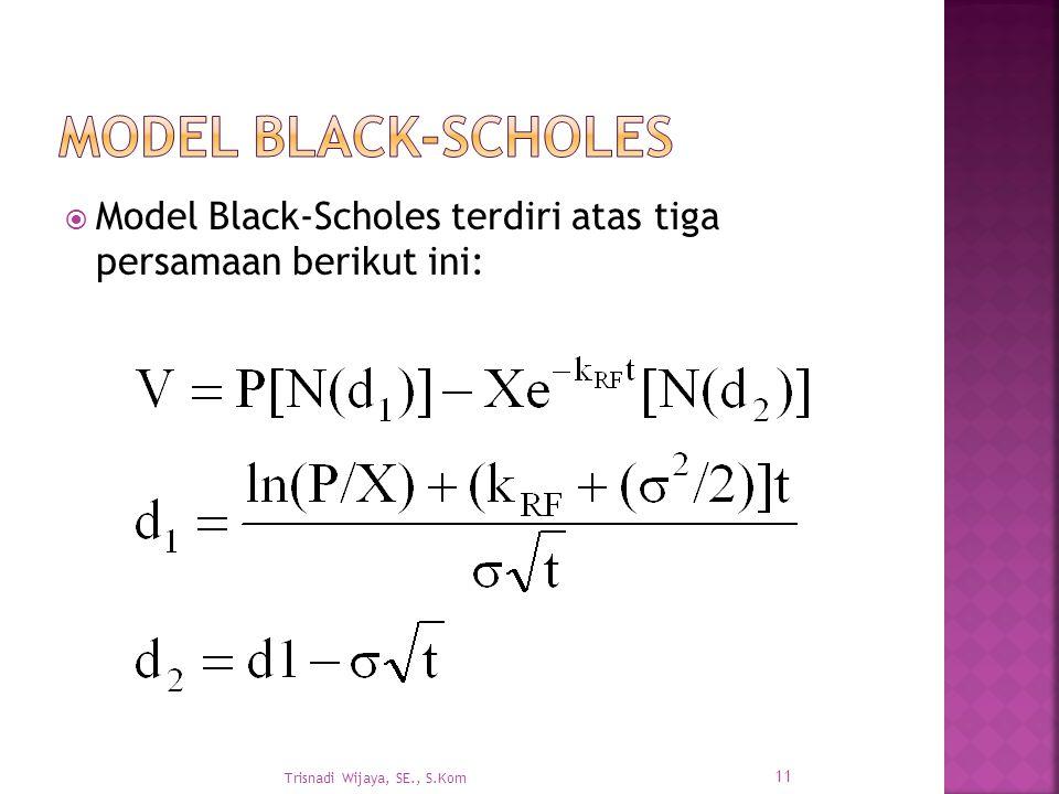  Model Black-Scholes terdiri atas tiga persamaan berikut ini: Trisnadi Wijaya, SE., S.Kom 11