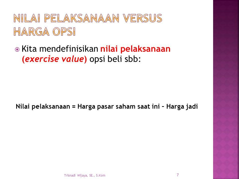  Kita mendefinisikan nilai pelaksanaan (exercise value) opsi beli sbb: Trisnadi Wijaya, SE., S.Kom 7 Nilai pelaksanaan = Harga pasar saham saat ini – Harga jadi