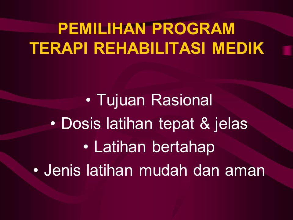 PEMILIHAN PROGRAM TERAPI REHABILITASI MEDIK Tujuan Rasional Dosis latihan tepat & jelas Latihan bertahap Jenis latihan mudah dan aman