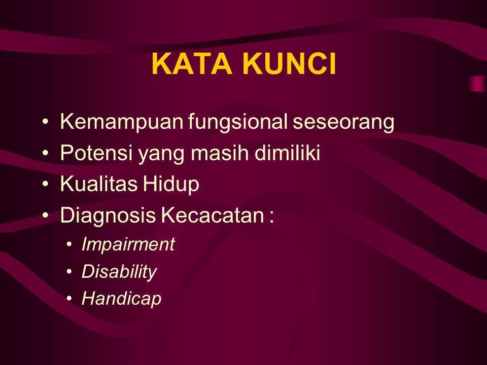 KATA KUNCI Kemampuan fungsional seseorang Potensi yang masih dimiliki Kualitas Hidup Diagnosis Kecacatan : Impairment Disability Handicap