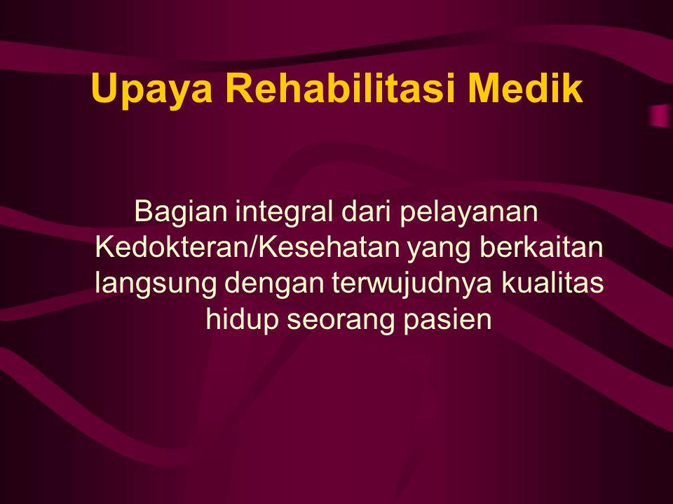 Upaya Rehabilitasi Medik Bagian integral dari pelayanan Kedokteran/Kesehatan yang berkaitan langsung dengan terwujudnya kualitas hidup seorang pasien