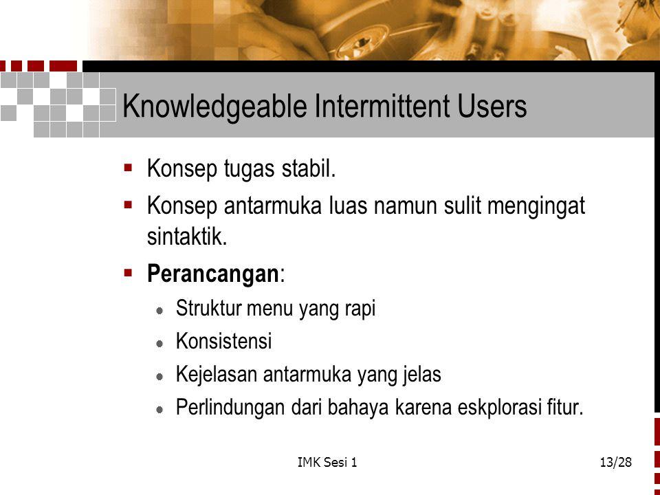 IMK Sesi 113/28 Knowledgeable Intermittent Users  Konsep tugas stabil.  Konsep antarmuka luas namun sulit mengingat sintaktik.  Perancangan :  Str