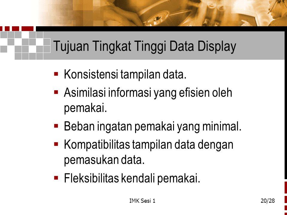IMK Sesi 120/28 Tujuan Tingkat Tinggi Data Display  Konsistensi tampilan data.  Asimilasi informasi yang efisien oleh pemakai.  Beban ingatan pemak