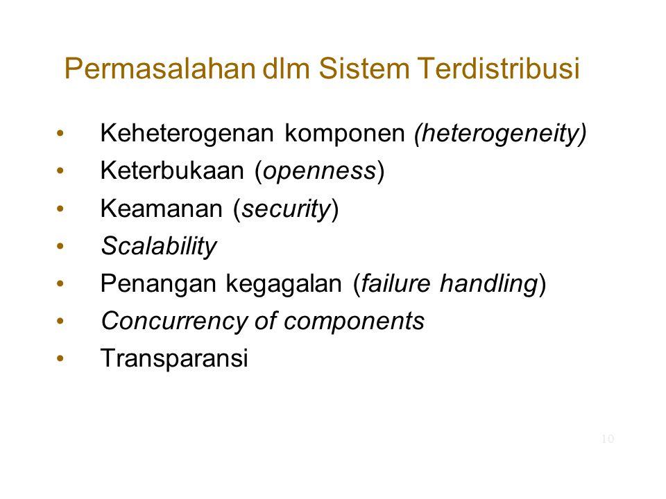 10 Permasalahan dlm Sistem Terdistribusi Keheterogenan komponen (heterogeneity) Keterbukaan (openness) Keamanan (security) Scalability Penangan kegaga