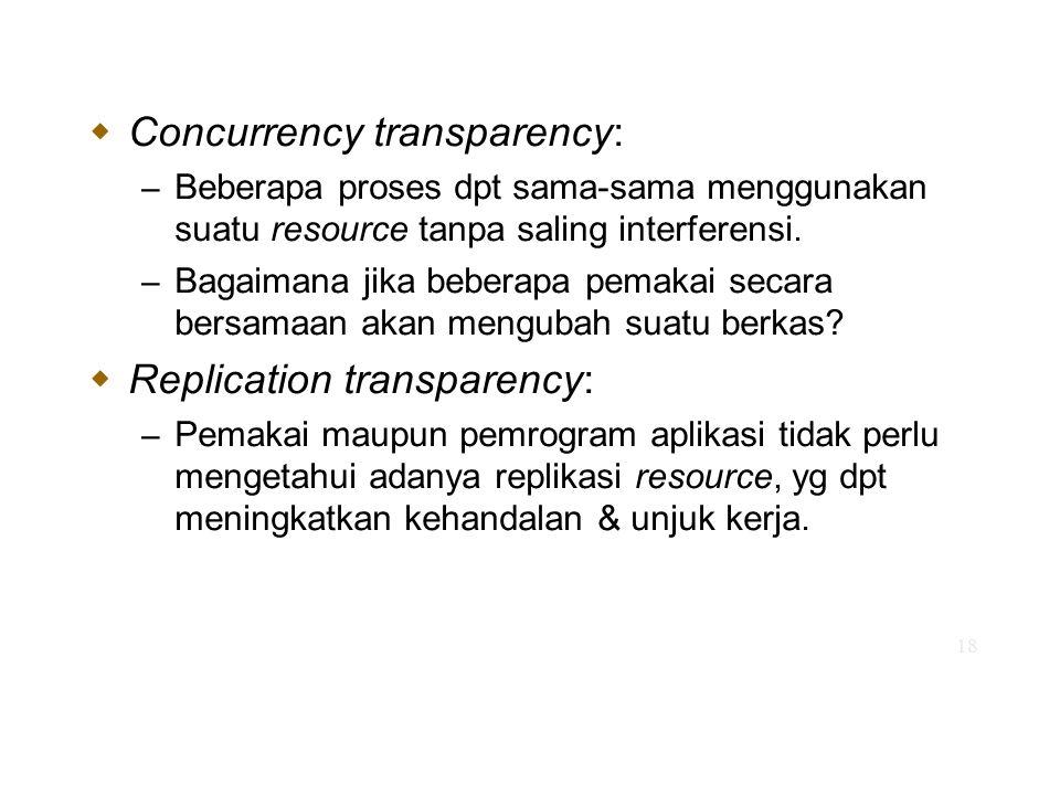 18  Concurrency transparency: – Beberapa proses dpt sama-sama menggunakan suatu resource tanpa saling interferensi. – Bagaimana jika beberapa pemakai
