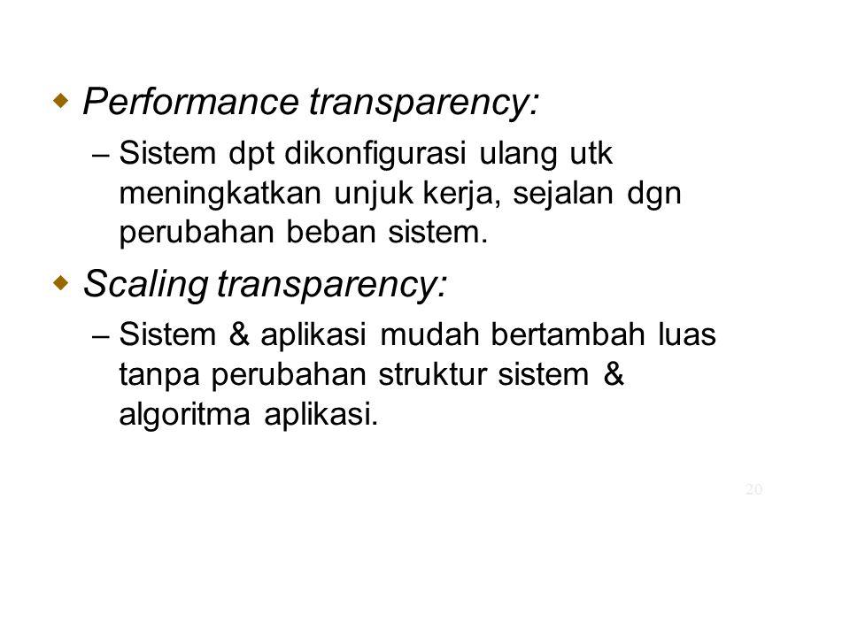 20  Performance transparency: – Sistem dpt dikonfigurasi ulang utk meningkatkan unjuk kerja, sejalan dgn perubahan beban sistem.  Scaling transparen