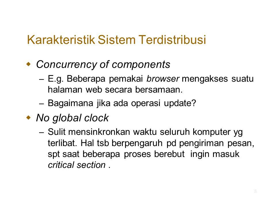 9 Karakteristik Sistem Terdistribusi  Independent failures of components – Not total failure, but partial failure.