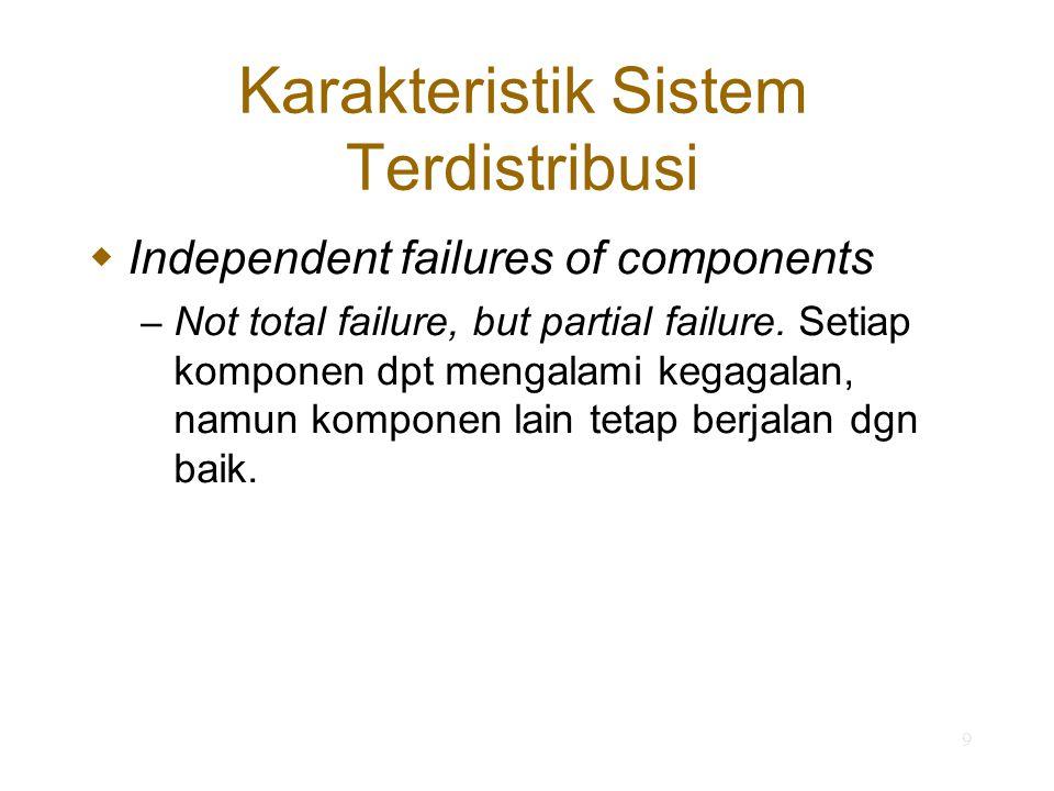 10 Permasalahan dlm Sistem Terdistribusi Keheterogenan komponen (heterogeneity) Keterbukaan (openness) Keamanan (security) Scalability Penangan kegagalan (failure handling) Concurrency of components Transparansi