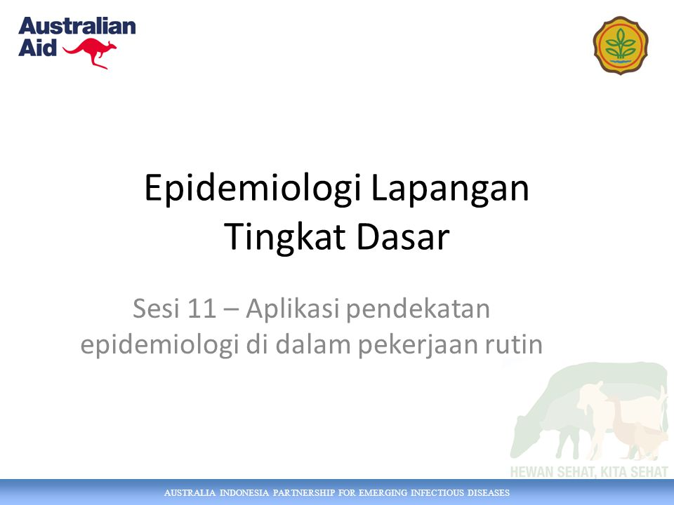 AUSTRALIA INDONESIA PARTNERSHIP FOR EMERGING INFECTIOUS DISEASES Epidemiologi Lapangan Tingkat Dasar Sesi 11 – Aplikasi pendekatan epidemiologi di dal