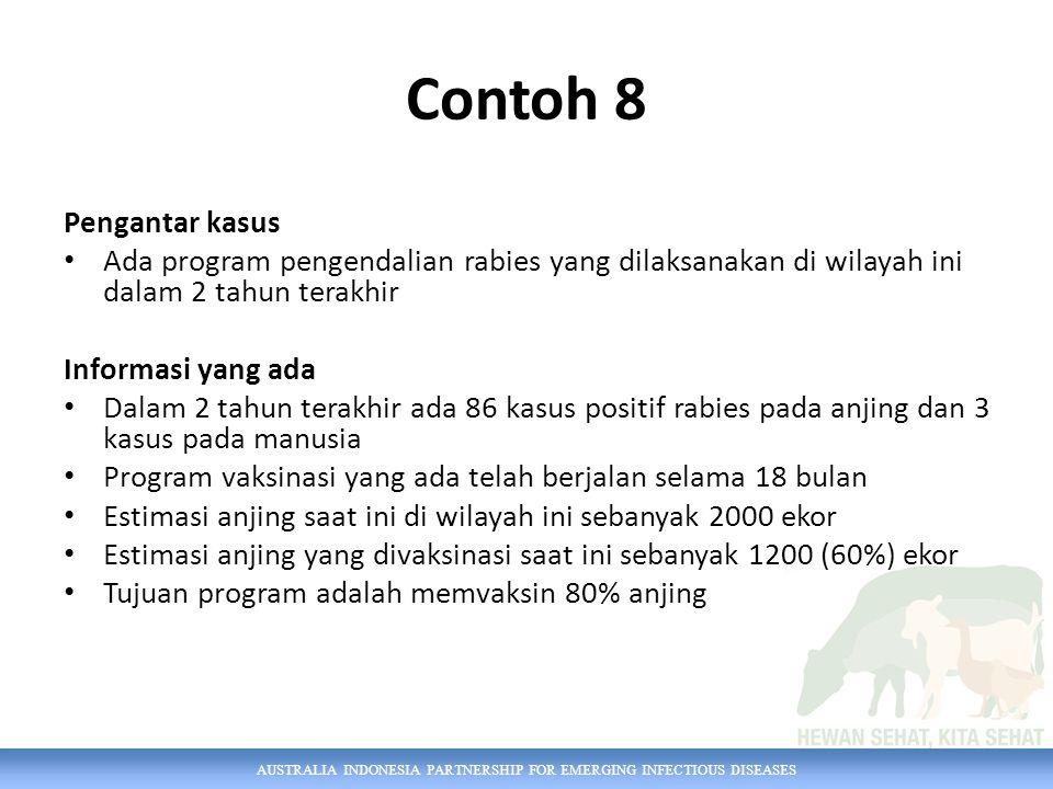 AUSTRALIA INDONESIA PARTNERSHIP FOR EMERGING INFECTIOUS DISEASES Contoh 8 Pengantar kasus Ada program pengendalian rabies yang dilaksanakan di wilayah
