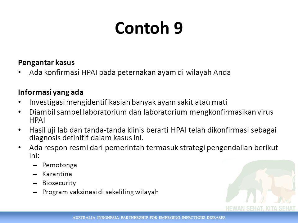AUSTRALIA INDONESIA PARTNERSHIP FOR EMERGING INFECTIOUS DISEASES Contoh 9 Pengantar kasus Ada konfirmasi HPAI pada peternakan ayam di wilayah Anda Inf