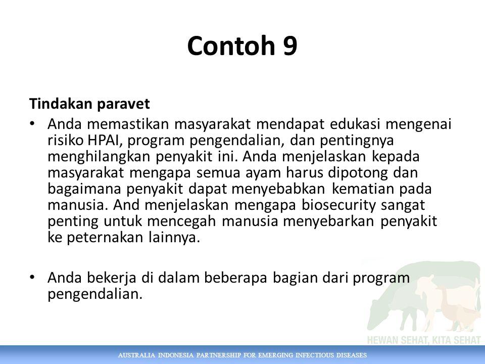 AUSTRALIA INDONESIA PARTNERSHIP FOR EMERGING INFECTIOUS DISEASES Contoh 9 Tindakan paravet Anda memastikan masyarakat mendapat edukasi mengenai risiko