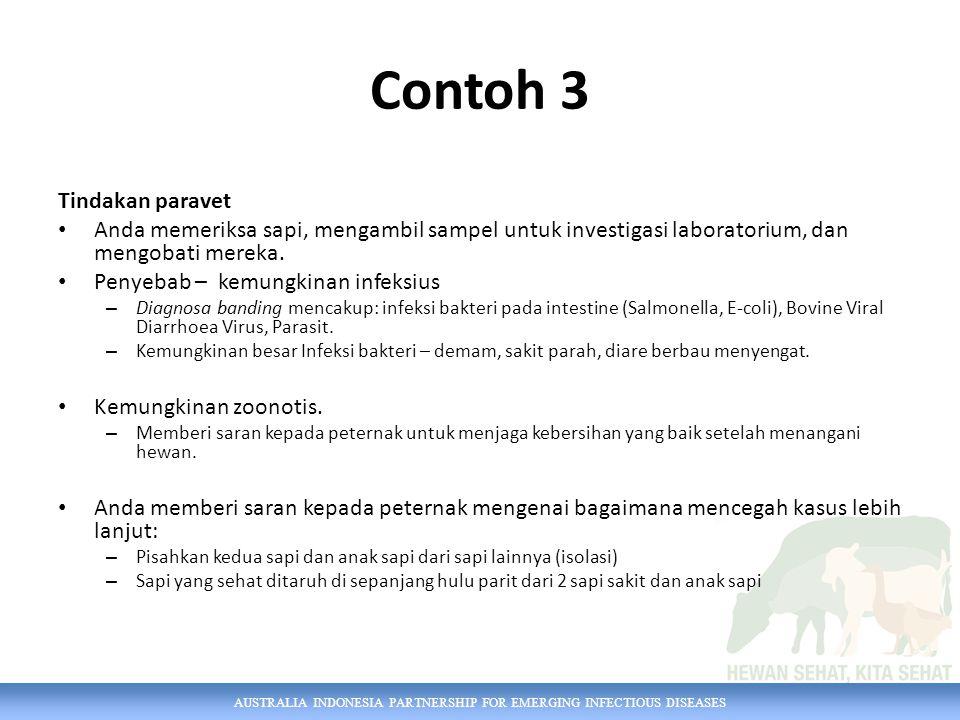 AUSTRALIA INDONESIA PARTNERSHIP FOR EMERGING INFECTIOUS DISEASES Contoh 3 Tindakan paravet Anda memeriksa sapi, mengambil sampel untuk investigasi lab