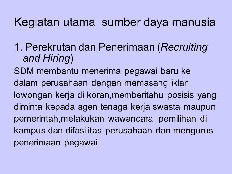 Kegiatan utama sumber daya manusia 1. Perekrutan dan Penerimaan (Recruiting and Hiring) SDM membantu menerima pegawai baru ke dalam perusahaan dengan