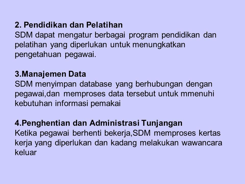 Perekrutan Penerimaan Pendidikan & pelatiahn Penghentian Adm Tunjangan Calon pegawai Manajemen Data Pegawai Pegawai yang pensiun Gambar fungsi SDM memudahkan arus sumber daya personil