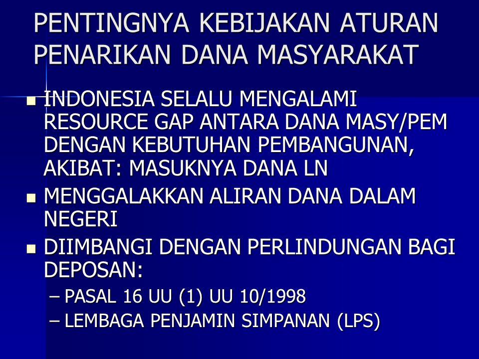 PENTINGNYA KEBIJAKAN ATURAN PENARIKAN DANA MASYARAKAT INDONESIA SELALU MENGALAMI RESOURCE GAP ANTARA DANA MASY/PEM DENGAN KEBUTUHAN PEMBANGUNAN, AKIBA