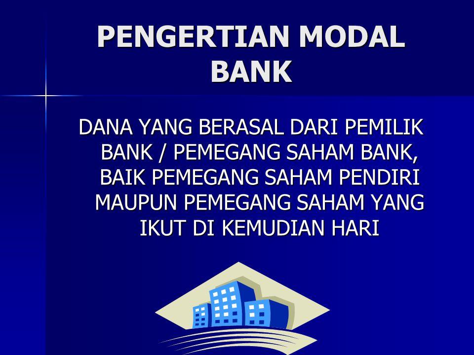 PENGERTIAN MODAL BANK DANA YANG BERASAL DARI PEMILIK BANK / PEMEGANG SAHAM BANK, BAIK PEMEGANG SAHAM PENDIRI MAUPUN PEMEGANG SAHAM YANG IKUT DI KEMUDI
