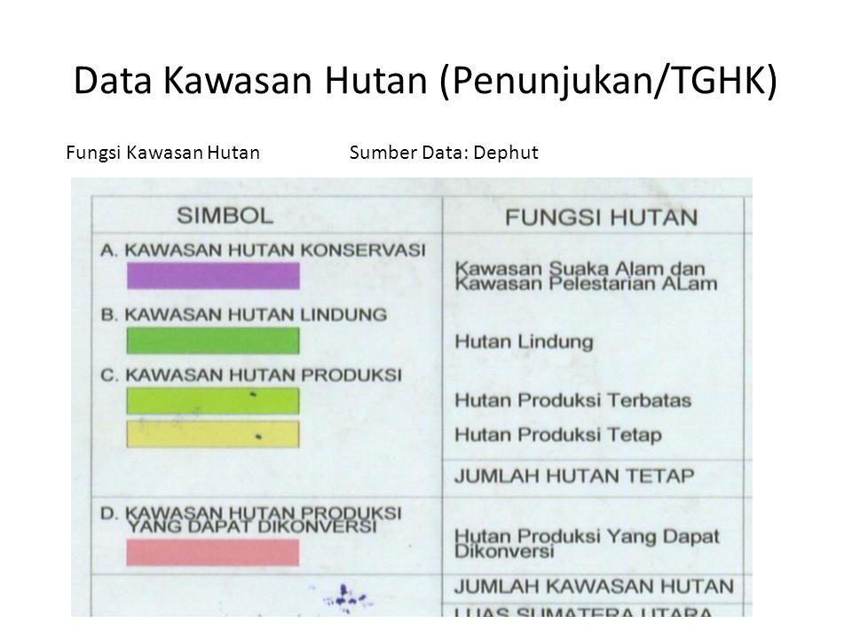 Data Kawasan Hutan (Penunjukan/TGHK) Fungsi Kawasan HutanSumber Data: Dephut