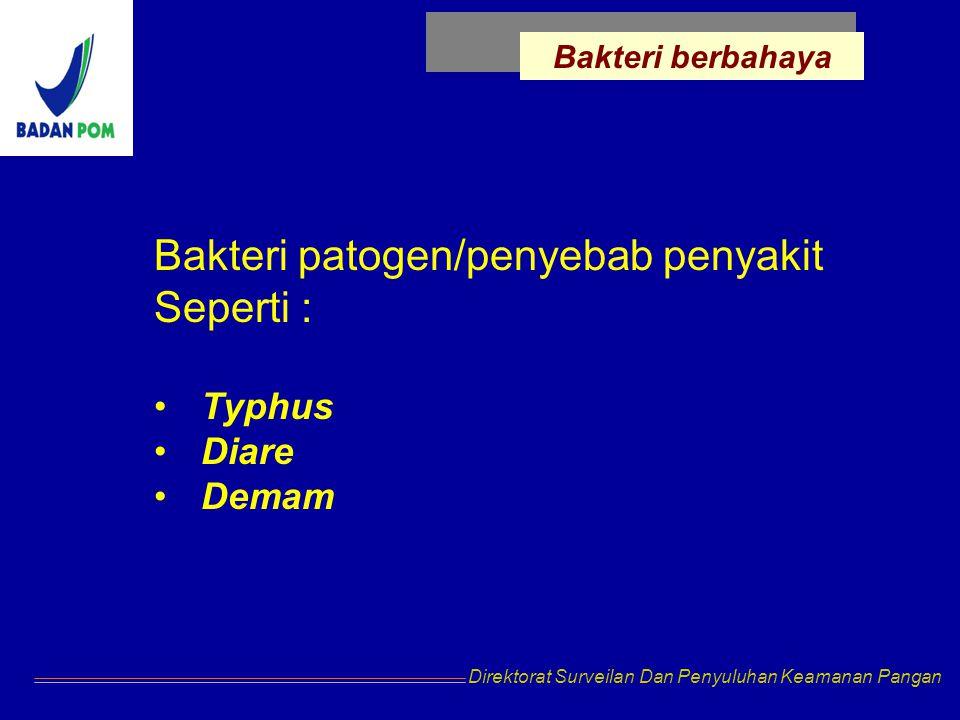 Bakteri berbahaya Direktorat Surveilan Dan Penyuluhan Keamanan Pangan Bakteri patogen/penyebab penyakit Seperti : Typhus Diare Demam