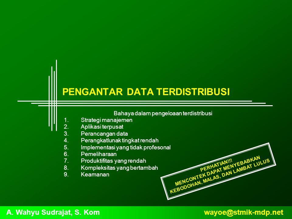 wayoe@stmik-mdp.netA. Wahyu Sudrajat, S. Kom PENGANTAR DATA TERDISTRIBUSI Bahaya dalam pengeloaan terdistribusi 1.Strategi manajemen 2.Aplikasi terpus