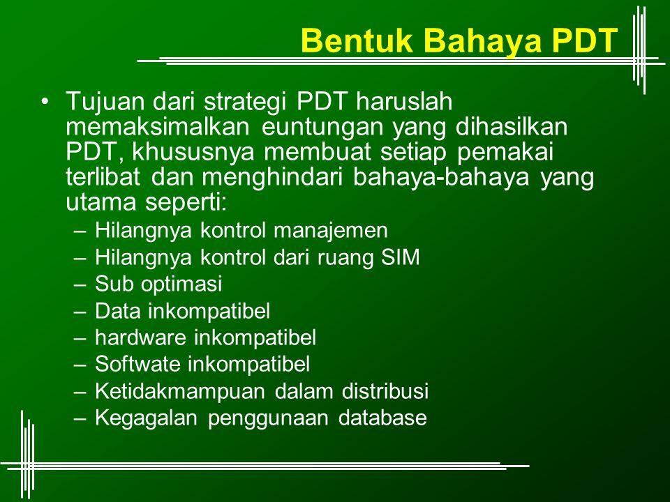 Bentuk Bahaya PDT Tujuan dari strategi PDT haruslah memaksimalkan euntungan yang dihasilkan PDT, khususnya membuat setiap pemakai terlibat dan menghindari bahaya-bahaya yang utama seperti: –Hilangnya kontrol manajemen –Hilangnya kontrol dari ruang SIM –Sub optimasi –Data inkompatibel –hardware inkompatibel –Softwate inkompatibel –Ketidakmampuan dalam distribusi –Kegagalan penggunaan database