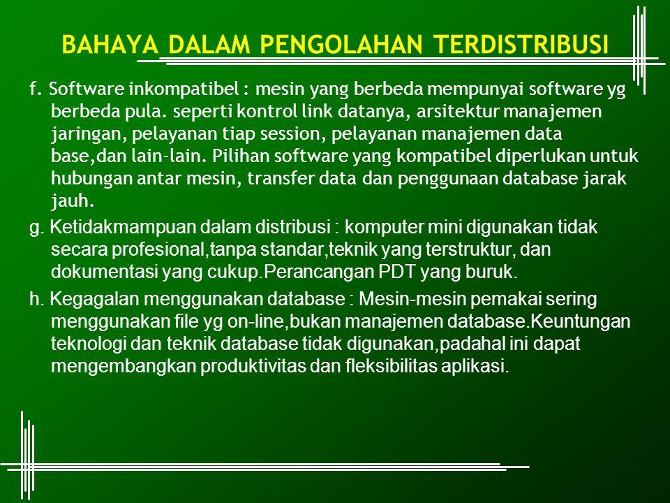 f. Software inkompatibel : mesin yang berbeda mempunyai software yg berbeda pula. seperti kontrol link datanya, arsitektur manajemen jaringan, pelayan